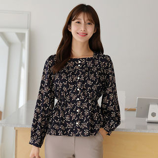 Square-Neck Shirred Floral Peplum Blouse from CLICK