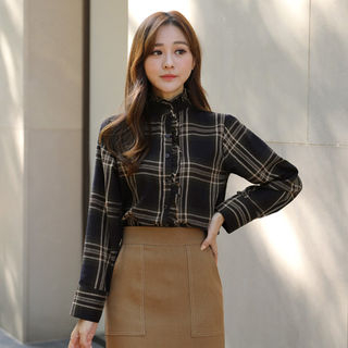 Stand-Collar Frilled Plaid Blouse from CLICK
