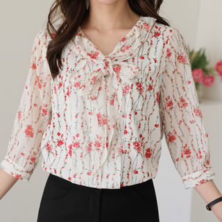 Tie-Front Floral Print Blouse from CLICK