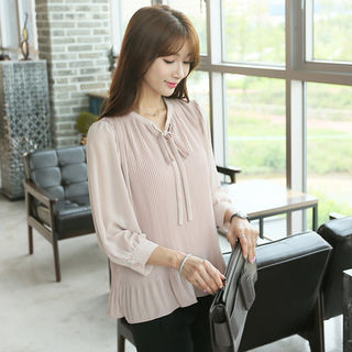 Tie-Front Pleated Blouse from CLICK