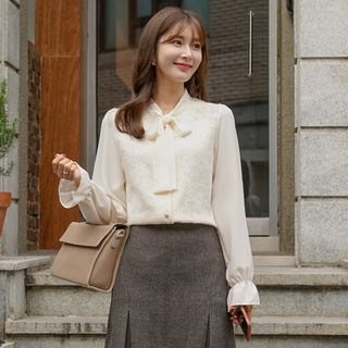 Tie-Neck Lace-Panel Blouse from CLICK