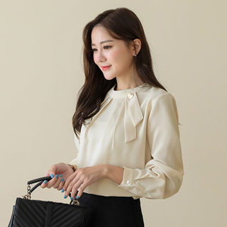 Tie-Neck Metal-Detail Pleated Blouse from CLICK