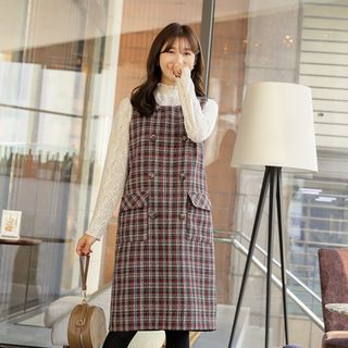 Wool Blend Tweed Midi Pinafore Dress from CLICK