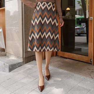 Zigzag-Patterned Faux-Suede Midi Flare Skirt from CLICK