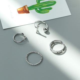 Set of 4: Ring (Various Designs) Set of 4 - J036 - Silver - One Size from Calypso