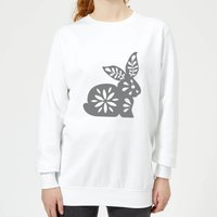 Candlelight Folk Silhouette Rabbit Cutout Women's Sweatshirt - White - XL - White from Candlelight