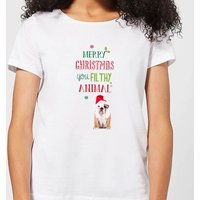 Merry Christmas bulldog Women's T-Shirt - White - S - White from Candlelight