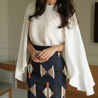 Chiffon Cape-Sleeve Blouse/ Patterned Midi Pencil Skirt from Cassidy