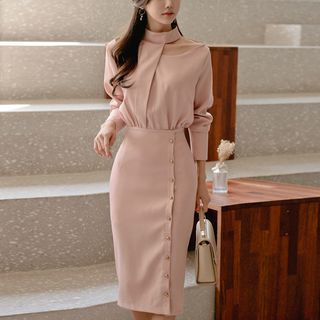 Long-Sleeve Cut Out Sheath Dress from Cassidy