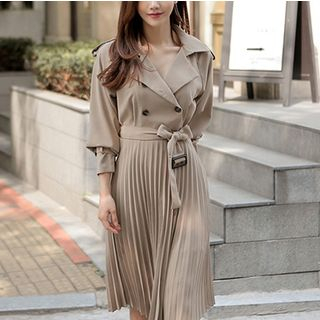 Long-Sleeve Pleated Midi A-Line Dress from Cassidy