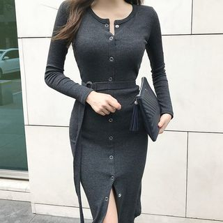 Long-Sleeve Tie-Waist Buttoned Midi Sheath Knit Dress from Cassidy