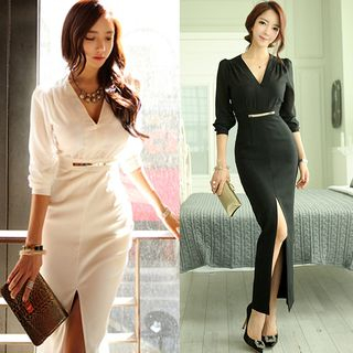 Long-Sleeve V-Neck Slit-Front Maxi Sheath Dress from Cassidy