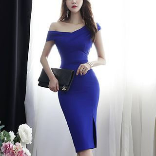 One-Shoulder Sleeveless Midi Sheath Party Dress from Cassidy