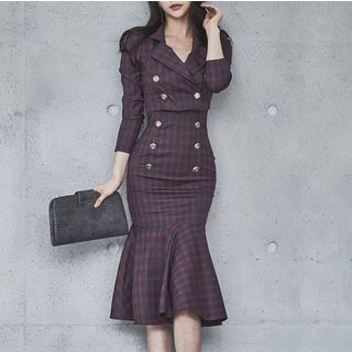 Set: Plaid Wide-Strap Ruffle Hem Sheath Dress + Cropped Jacket from Cassidy