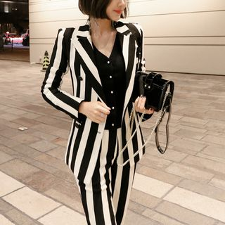 Set: Striped Double-Breasted Blazer + Slim-Fit Dress Pants from Cassidy