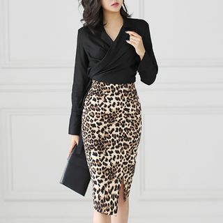 Wrap Blouse / Leopard Print Pencil Skirt from Cassidy