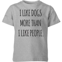 I Like Dogs More Than People Kids' T-Shirt - Grey - 11-12 Years - Grey from The Pet Collection