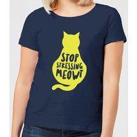 Stop Stressing Meowt Women's T-Shirt - Navy - M - Navy from The Pet Collection