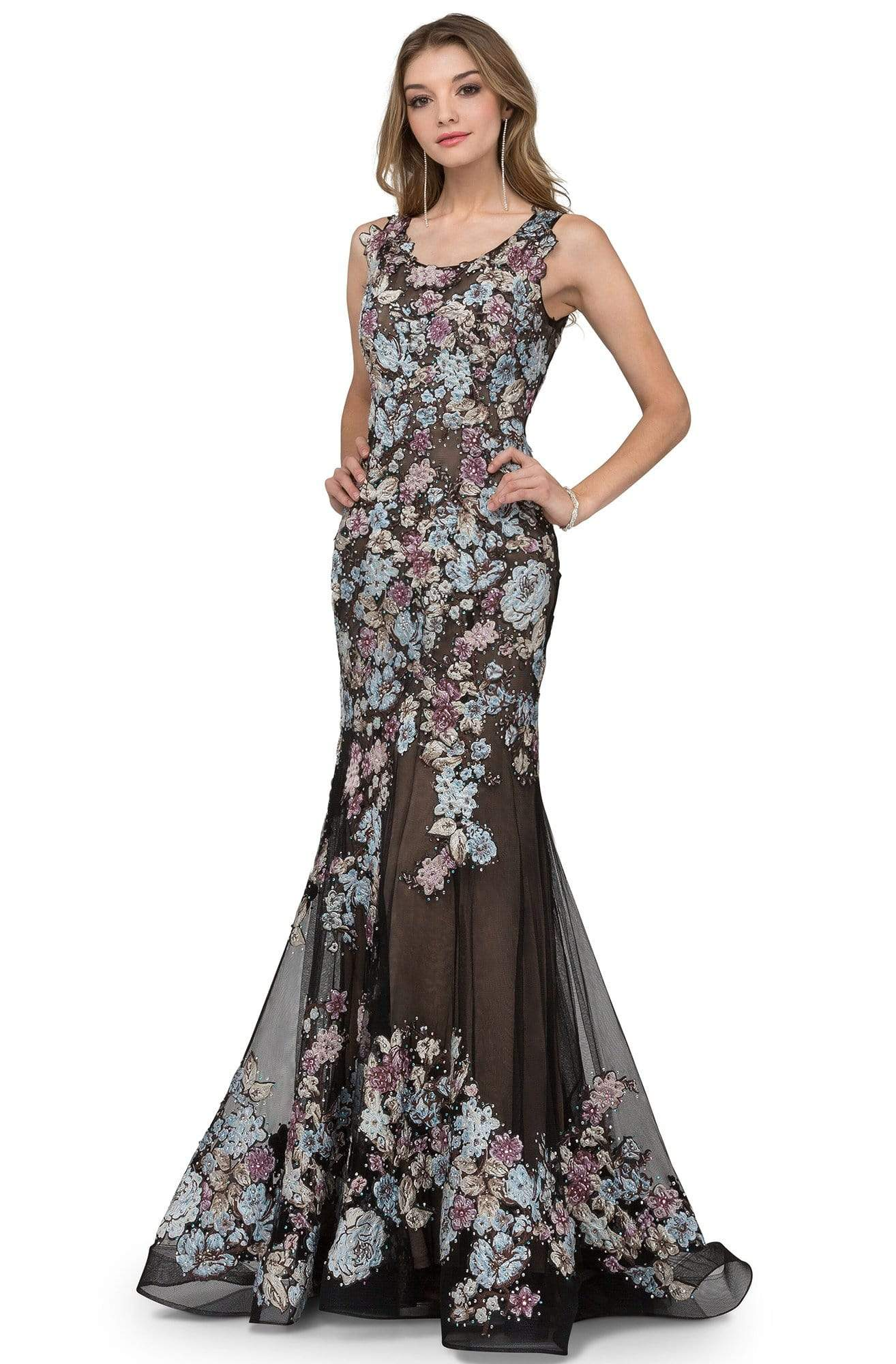 Cecilia Couture - 1404 Floral Applique Scoop Neck Trumpet Gown from Cecilia Couture