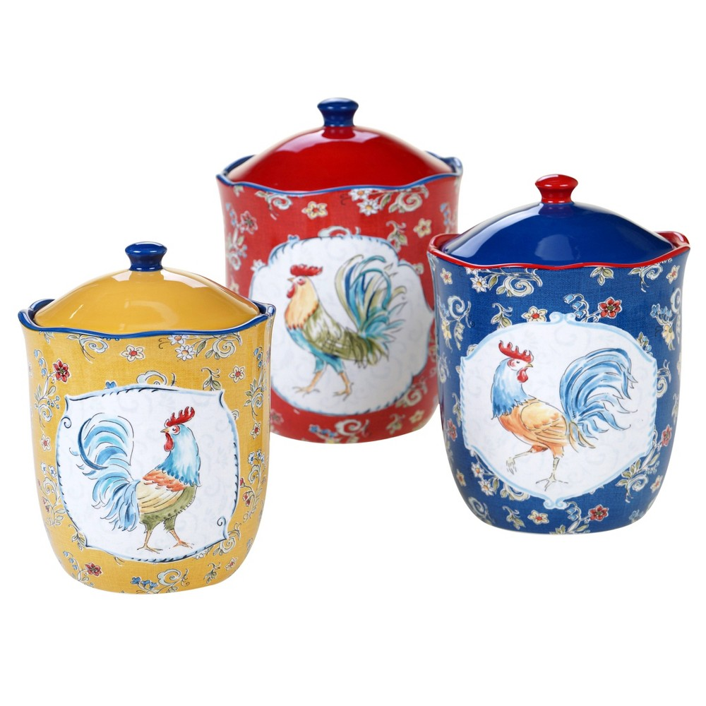 3pc Earthenware Morning Bloom Canister Set - Certified International from Certified International