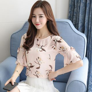 Floral Print Short-Sleeve Chiffon Top from Champi