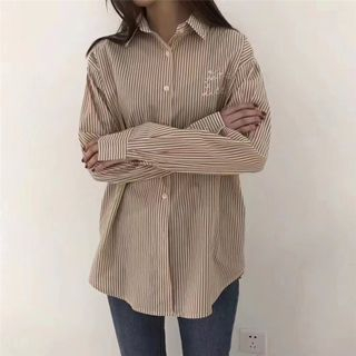 Letter Embroidered Striped Shirt from Champi