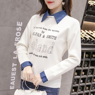 Letter Long-Sleeve Collared Top from Champi