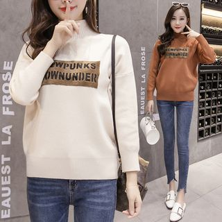 Letter Mock-neck Long-Sleeve Knit Top from Champi