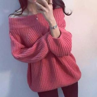 Off-shoulder Long-Sleeve Knit Top from Champi