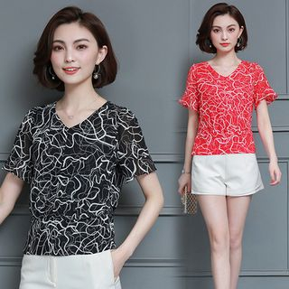 Printed Short-Sleeve Chiffon Top from Champi
