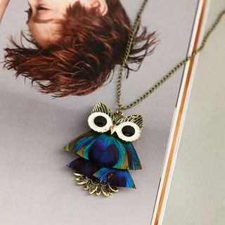 Owl Necklace Owl - Green & Dark Blue - One Size from Chanterelle
