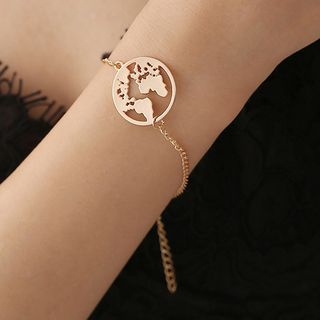 Alloy World Map Bracelet from Cheermo