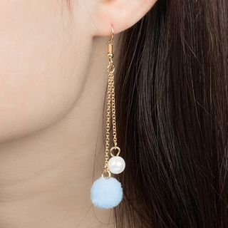 Pom Pom & Faux Pearl Earrings from Cheermo