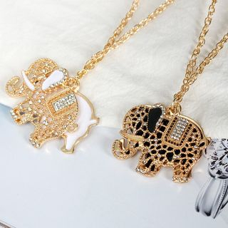 Rhinestone Elephant Pendant Necklace from Cheermo