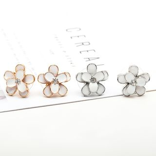 Rhinestone Floral Earrings from Cheermo
