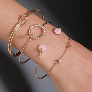 Set of 4: Rhinestone Alloy Bracelet / Open Bangle (various designs) from Cheermo