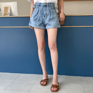 Buckled-Trim Denim Shorts from Cherryville