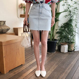 Fray-Hem Denim Skirt from Cherryville