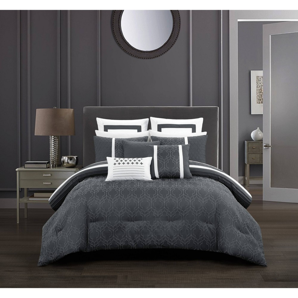 12pc Queen Arlea Bed in a Bag Comforter Set Gray - Chic Home Design from Chic Home Design