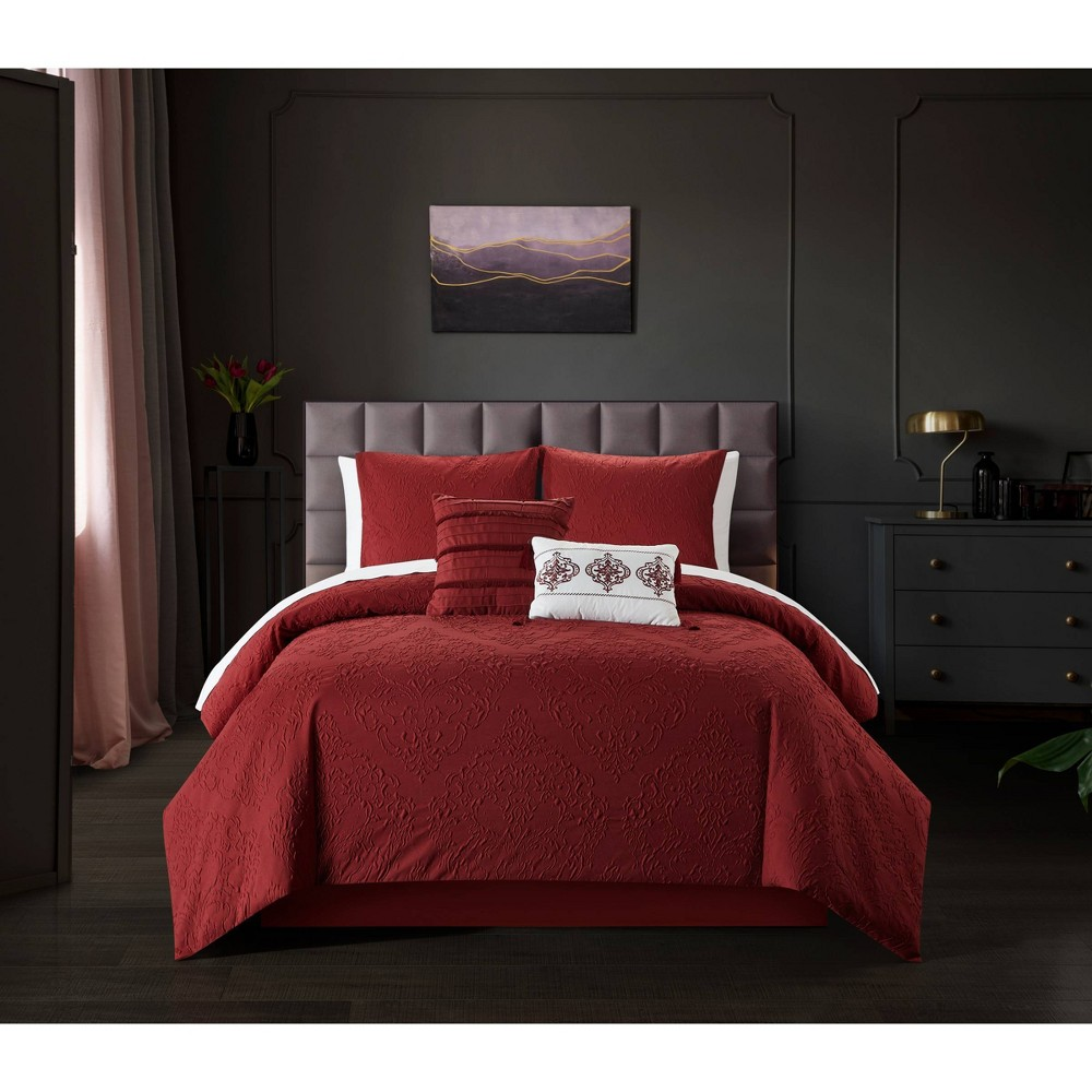 7pc Twin Extra Long Mya Bed in a Bag Comforter Set Red - Chic Home Design from Chic Home Design