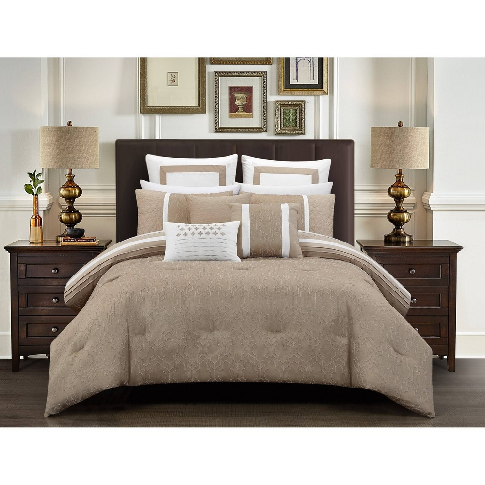 8pc King Arlea Comforter Set Beige - Chic Home Design from Chic Home Design