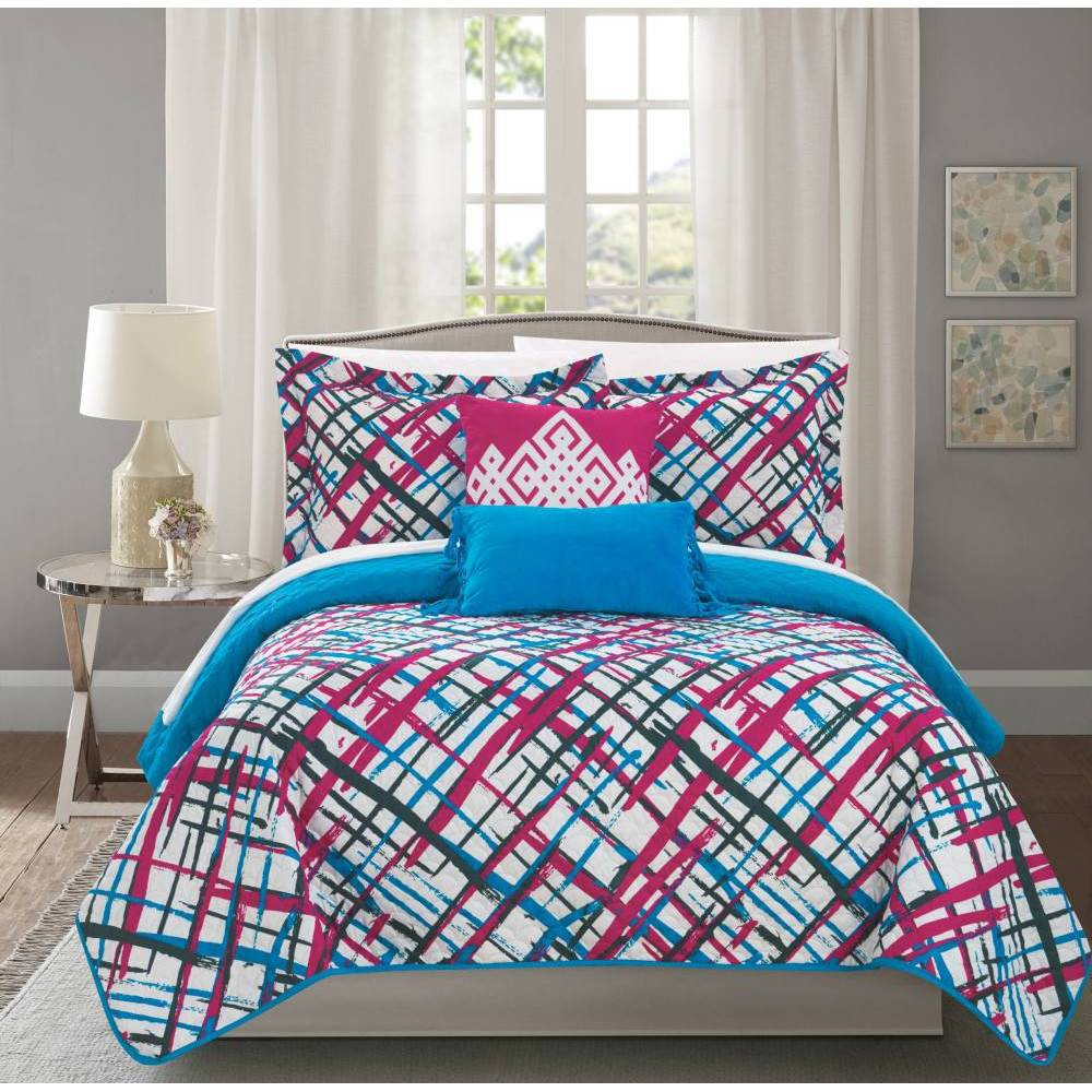 Chic Home Design Full 5pc Shane Quilt & Sham Set Pink from Chic Home Design