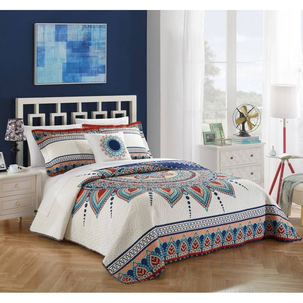 Chic Home Design Queen 4pc Nolina Quilt & Sham Set Blue from Chic Home Design