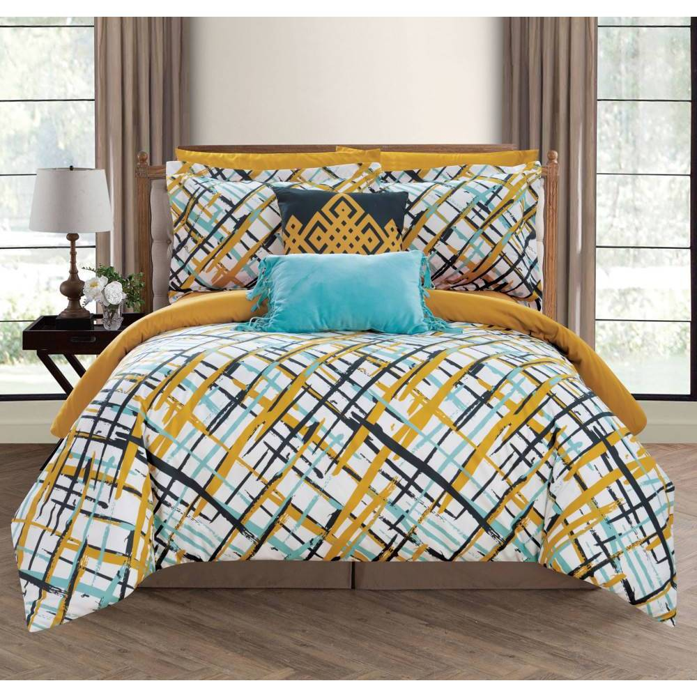 Chic Home Design Twin 7pc Miro Bed In A Bag Comforter Set Gold from Chic Home Design