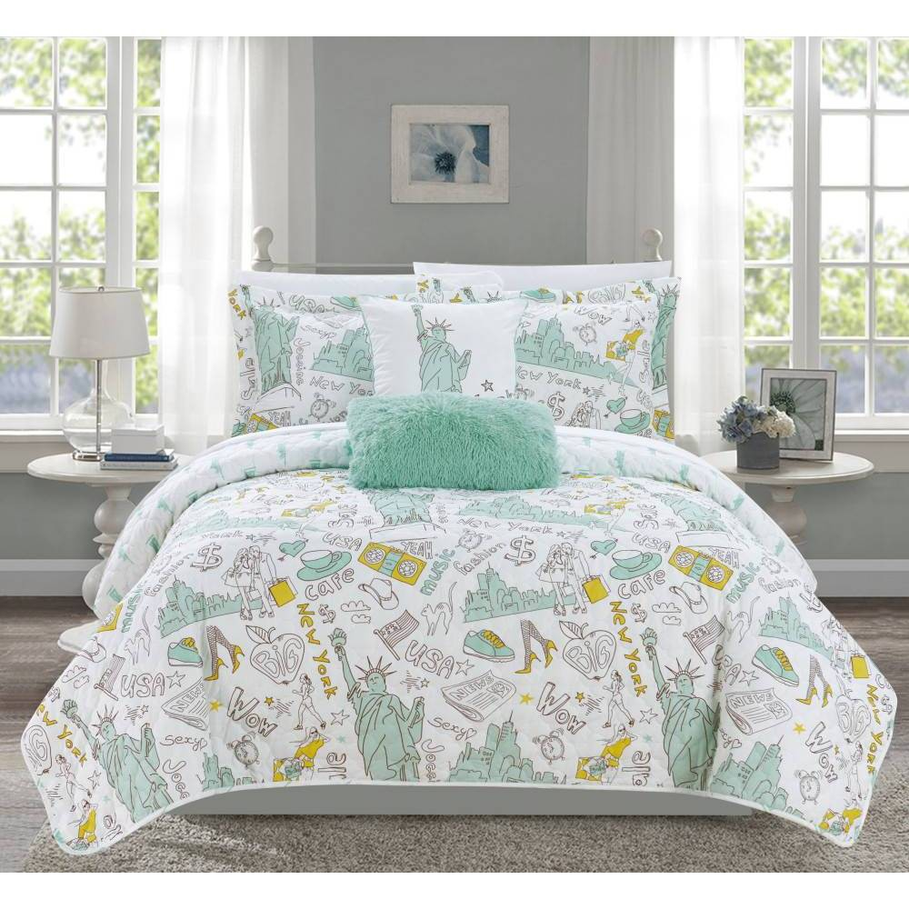 Chic Home Design Twin Park Bay Park Quilt & Sham Set Green from Chic Home Design
