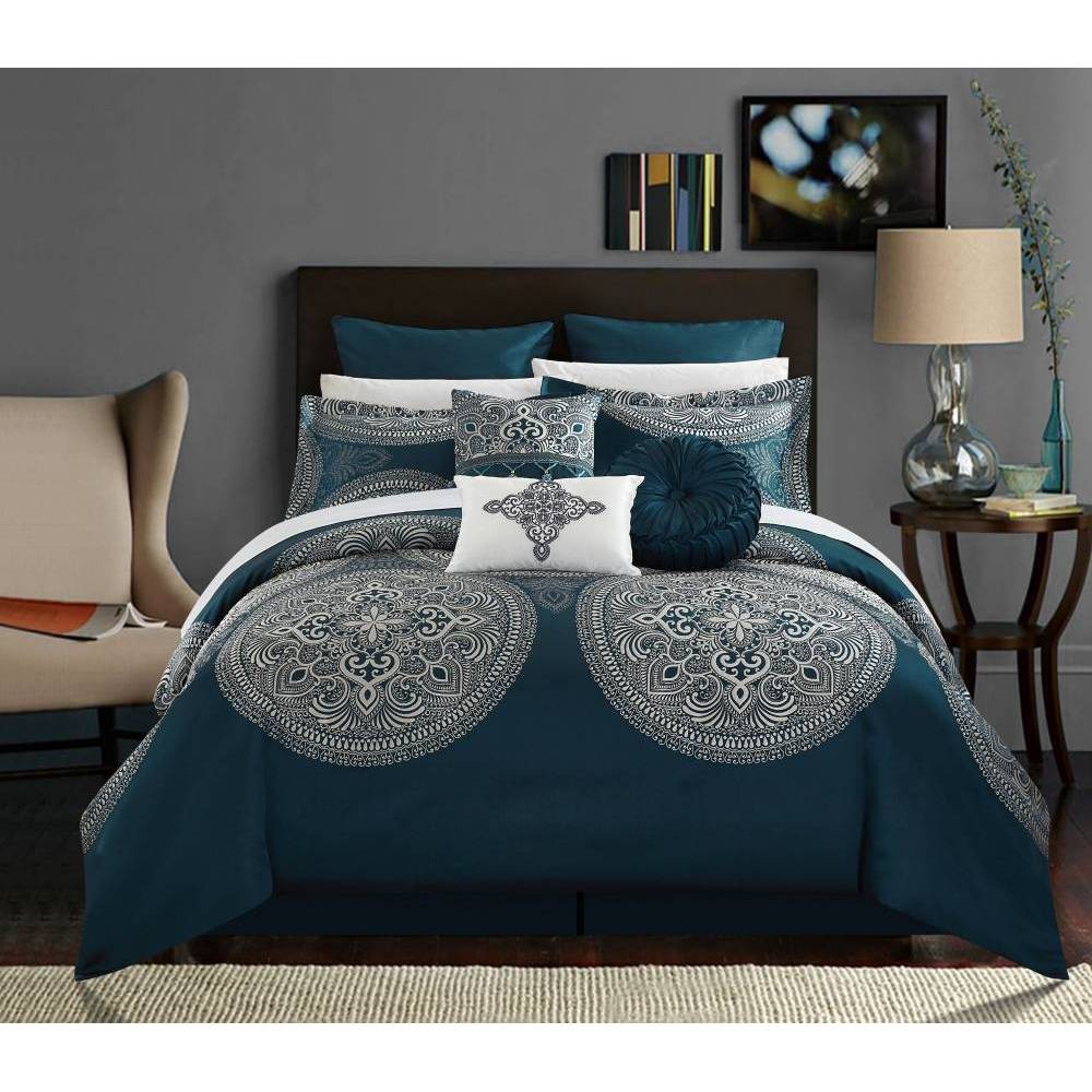 Chic Home Queen 9pc Adana Comforter Set Blue from Chic Home Design