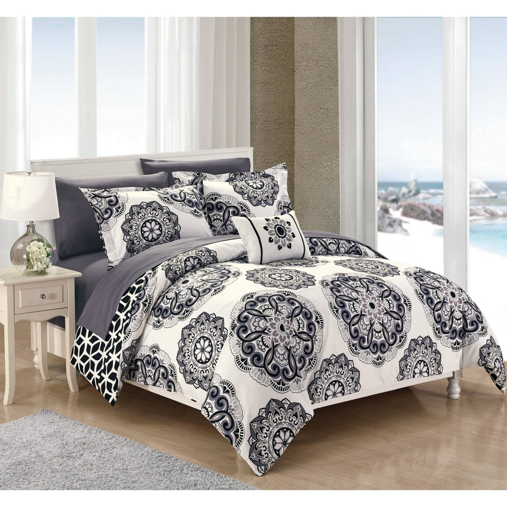 Full/Queen 8pc Catalonia Bed In A Bag Comforter Set Black - Chic Home Design from Chic Home Design