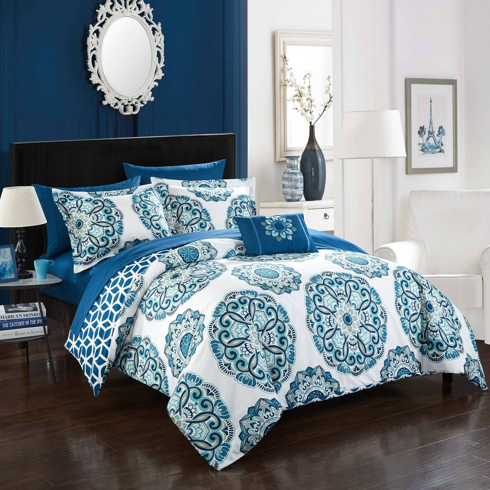 Full/Queen 8pc Catalonia Bed In A Bag Comforter Set Blue - Chic Home Design from Chic Home Design