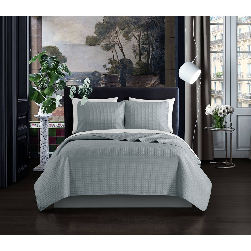 King 3pc Nika Quilt Set Gray - Chic Home Design from Chic Home Design