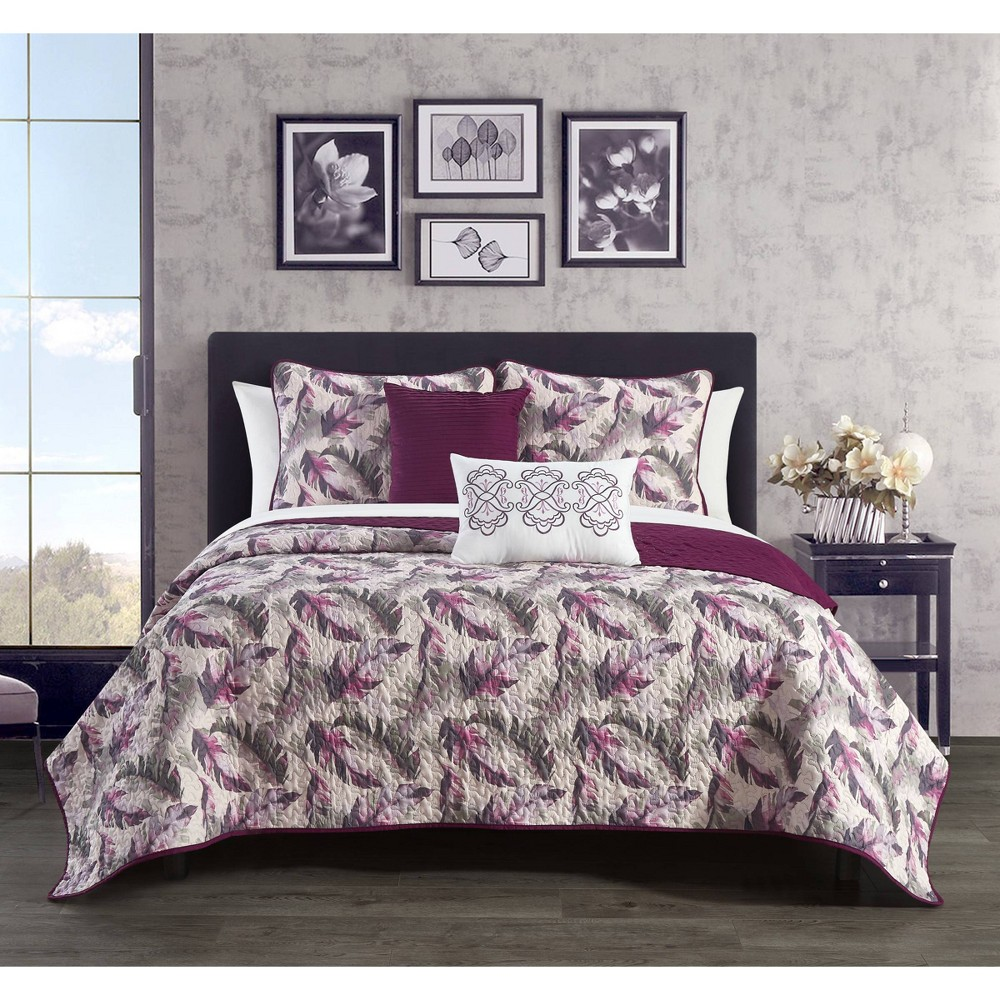 King 9pc Serra Bed in a Bag Quilt Set Purple - Chic Home Design from Chic Home Design